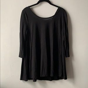 Black Long Sleeve Tunic with Back Strap Detail